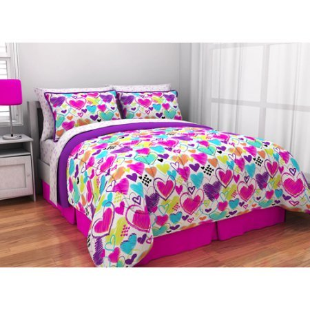Latitude Teen Reversible Bright Pink, Purple, White Hearts Bedding Queen Comforter for Girls (5 Piece in a Bag)