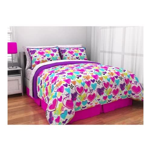 Latitude Teen Reversible Bright Pink, Purple, White Hearts Bedding Twin XL Comforter for Girls (5 Piece in Bag) free shipping