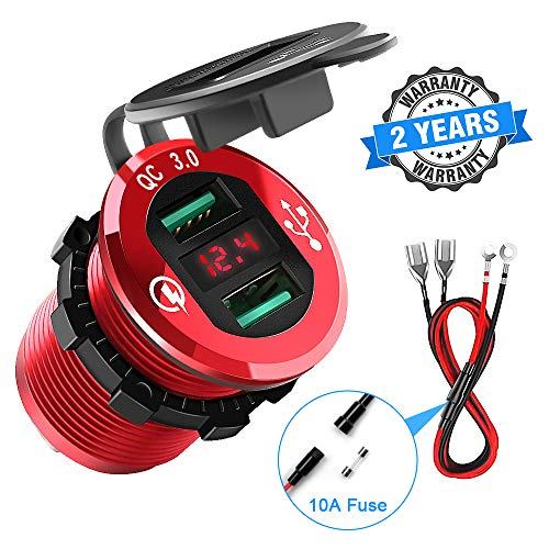 Quick Charge 3.0 Car Charger, Rocketek 12V/24V 36W Waterproof Aluminum Dual USB Charger Socket Power Outlet Adapter with LED Voltmeter & Wire Fuse DIY Kit for Car Boat Motorcycle Marine Bus Truck etc ()
