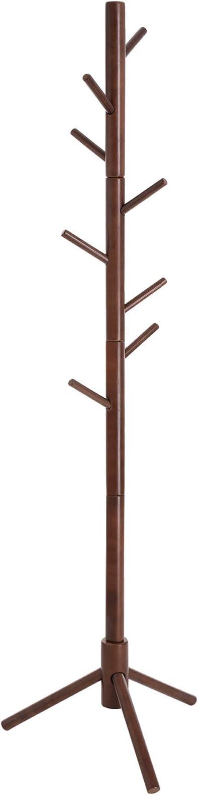 Brown Bag Umbrella Hanging Organiser for Hallway Bedroom Waiting Room Living Room Hallway Tree Coat Rack Stand with 8 Hooks Wood Coat Rack Free Standing