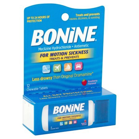 Pack of 8 - Bonine Motion Sickness Treatment Raspberry Chewable Tablets, Meclizine Hydrochloride Antiemetic, 12 count by Bonide (Image #2)