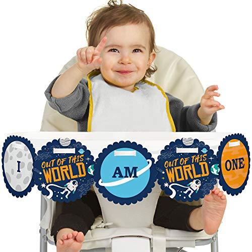 - Big Dot of Happiness Blast Off to Outer Space 1st Birthday - I Am One - First Birthday High Chair Banner