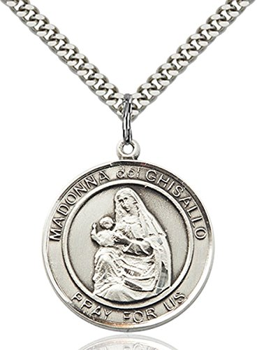 Sterling Silver Round Catholic Madonna Del Ghisallo Medal Pendant, 1 Inch