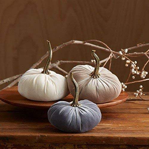 (Velvet Pumpkins, SET of 3: Gray, Ivory and Taupe; Home Decor, Holiday Mantle Decor, Centerpiece, Fall, Halloween, Thanksgiving)