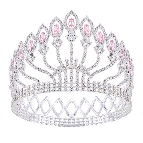 Stuffwholesale Marquise Crystal Crown Women Girl Queen Tiara Banquet Party Headwear (Silver/Pink)