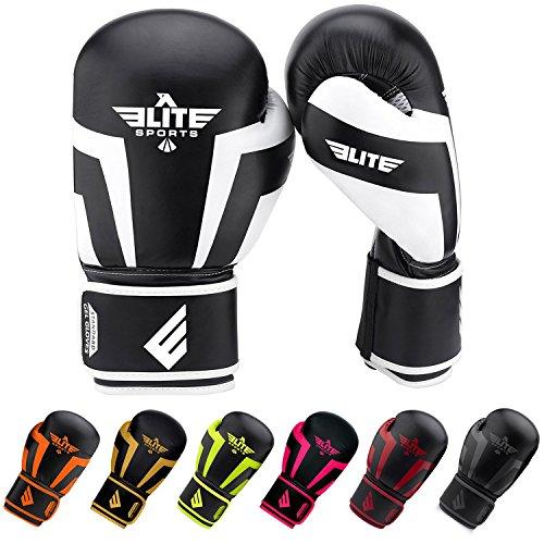Elite Leather Boxing Gloves - Elite Sports New Item Standard Adult Kickboxing, Muay Thai Sparring Training Boxing Gloves, White, 14 oz.