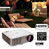 EUG Full HD 1080P LED LCD Image System Home Theatre Cinema Projector 3600 Lumens Multimedia Outdoor Backyard Movie Projectors iPhone iPad Blu-ray Xbox TV Video Game with HDMIx2 USBx2 VGA AV Remote Key