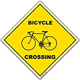 VictoryStore Yard Sign Outdoor Lawn Decorations: Bicycle Crossing Sign - 22' Diamond Shaped