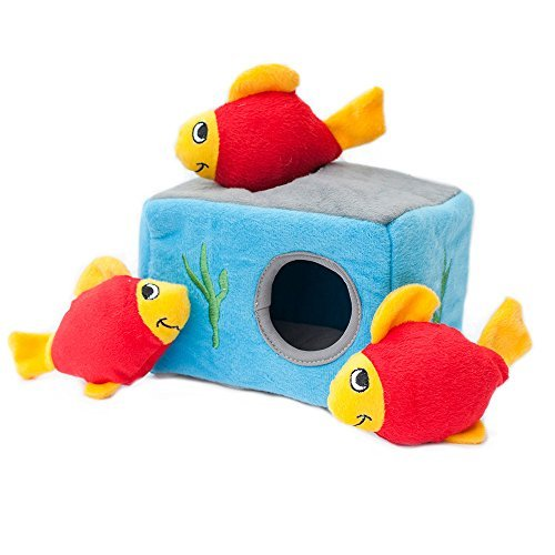 ZippyPaws - Sea Buddies Burrow, Interactive Squeaky Hide and Seek Plush Dog Toy - Aquarium