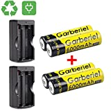 HeCloud 4 x 3.7V Li-ion 6000mAh 18650 Battery Rechargeable Batteries + 2x Dual Charger for Outdoor LED Flashlight(NOT AA or AAA Battery)