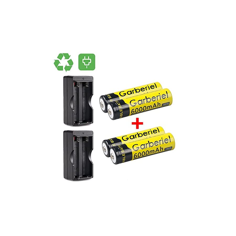 HeCloud 4 x 3.7V Li ion 6000mAh 18650 Battery Rechargeable Batteries with 2x Dual Charger for Outdoor LED Flashlight