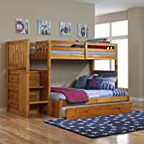 Discovery World Furniture Mission Twin Over Full Staircase Bunk Bed with Trundle in Honey Finish