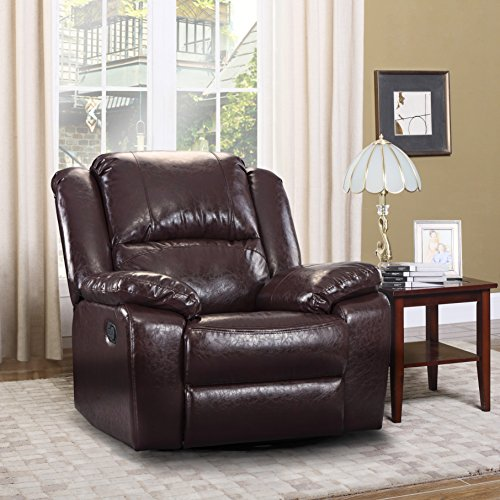 Bonded Rocker Recliner Leather - Oversize Ultra Comfortable Bonded Leather Rocker and Swivel Recliner Living Room Chair (Brown)