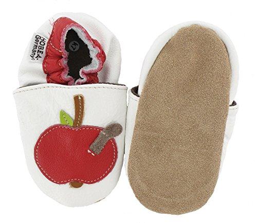 HOBEA-Germany Krabbelschuhe Apfel - Pantuflas para bebés Blanco - blanco