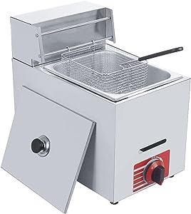Homier 10L Commercial Countertop Deep Gas Fryer, Countertop Tabletop Liquefied Petroleum Gas LPG Gas Deep Fryer W/Basket and Lid