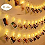 Photo String Lights with Clips, Stripsun 6.6Ft 20 LEDs Battery Powered Photo Clip Fairy Lights with 2 Modes, Hanging Photos Memos Paintings, Home Decor Wedding Party Bedroom Patio (Warm White)