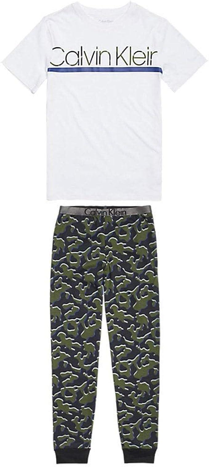 Calvin Klein Niños Personalizado Estiramiento PJ Set, Blanco/Impresión De Camuflaje