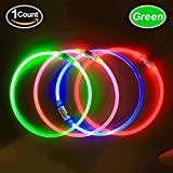 LED Dog Collar, USB Rechargeable, glowing pet dog collar for night safety, fashion light up tube flashing tube collar for small medium large dogs (green)