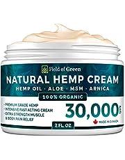 Field of Green Hempseed Relief 30,000MG Cream - Maximum Strength for Joint & Arthritis - Organic, Vegan, Non-GMO, CND, Salve For Strain, Sprain, Stiffness, Neck, Back, Hydrating, Moisturizing, Cosmetic Grade.