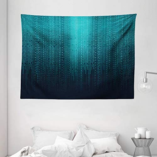 Ambesonne Digital Tapestry, Web Computer Programmer Futuristic Matrix Display with Algorithms Code Image, Wide Wall Hanging for Bedroom Living Room Dorm, 80 X 60 , Petrol Blue