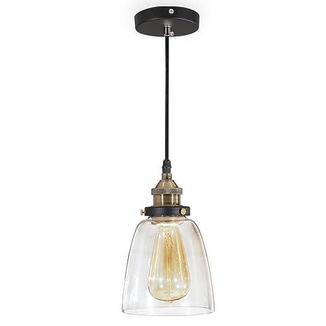 ISWEES E27 Techo transparente cortina de cristal araña de reequipamiento lámpara de techo de sombra (No Hay Bombillas)