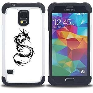 - Chinese dragon tattoo black white art - - Doble capa caja de la armadura Defender FOR Samsung Galaxy S5 I9600 G9009 G9008V RetroCandy