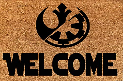 KiwiCraftdom - Large Star Wars Welcome Doormat - Rebel Alliance & Galactic Empire Silhouette!! Cute Housewarming Gifts, Fun Birthday Present ()