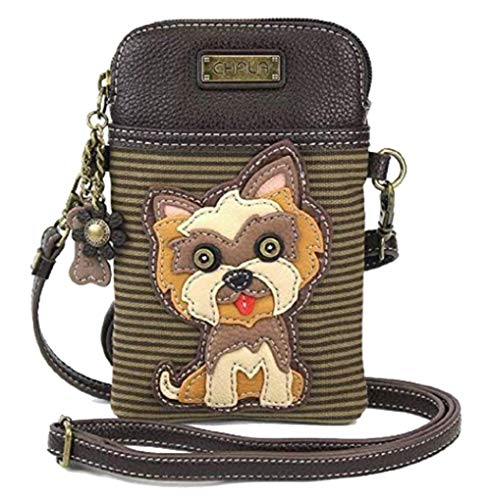 Multi Charm Keychain - Chala Crossbody Cell Phone Purse - Women PU Leather Multicolor Handbag with Adjustable Strap, Brown/Grey Striped Yorkshire