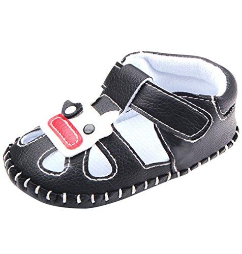 CHENGYANG Baby Jungen - Kleinkind Schuhe Weiche Unterseite - Sandalen PU-Leder Schwarz
