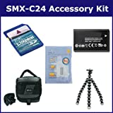 Samsung SMX-C24 Camcorder Accessory Kit includes: SDIABH130LB Battery, KSD2GB Memory Card, SDC-27 Case, ZELCKSG Care & Cleaning, GP-22 Tripod