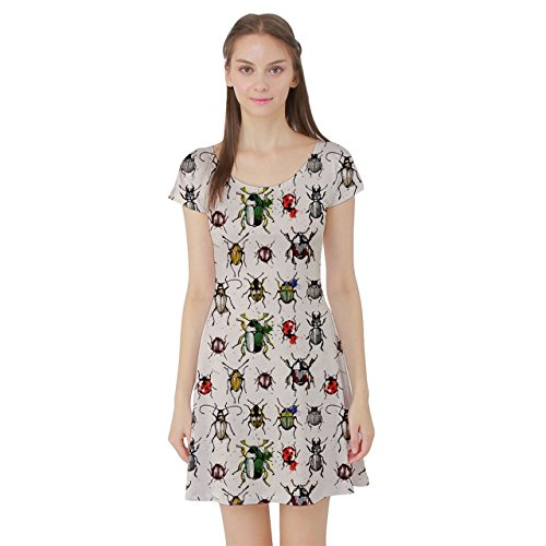 cowcow-beige-pattern-with-watercolor-beetles-short-sleeve-skater-dress-beige-l
