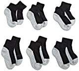 Jefferies Socks Little Boys' Seamless Sport Quarter Half Cushion  Socks (Pack of 6), Black/Grey, 7-8.5 sock size/9-1 shoe size