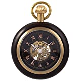 Steampunk Mechanical Skeleton Pocket Watch - Black ManChDa Roman Copper Wooden with Chain Gift Box