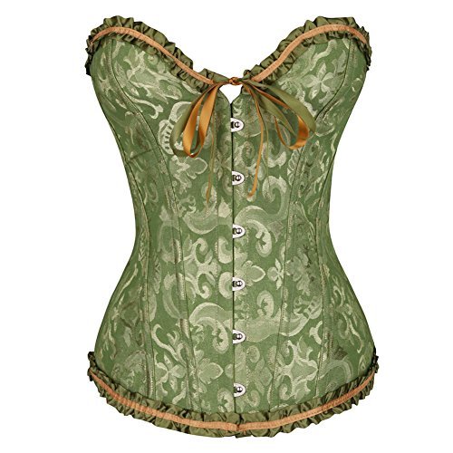 HLGO Lady's Sexy Flower Pattern Steampunk Bustier Metal Buckle Button Adjustable Back Lace Up Corset for Womens Green 3XL Size (Flower Brocade Corset)