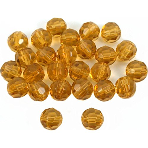 (25 Topaz Round FP Faceted Chinese Crystal Beads 6mm)