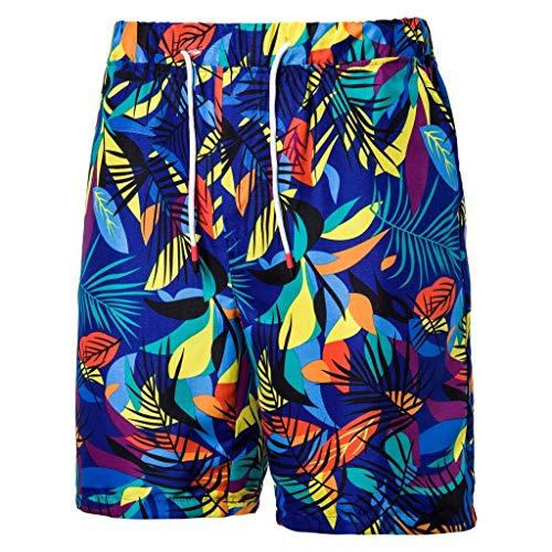 khdug✿Shorts for Men, Hawaiian Summer Casual Printed Pocket Hip Hop Beach Work Sport Trouser Pants Blue