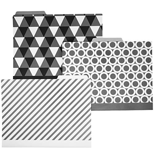 15-Count Decorative File Folders with Bonus Binder Clips, Printed and Packaged in USA, Black and White Multi Patterned 1/3-Cut Tabs Letter-Size for Filing and Organizing Office Paper