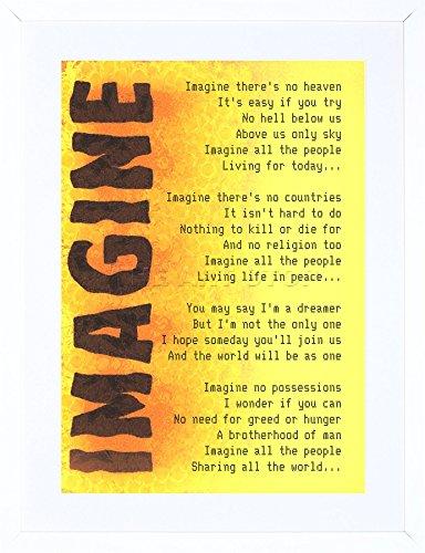 9x7 INCH IMAGINE MUSIC JOHN LENNON LYRICS MOTIVATION TYPOGRAPHY QUOTE FRAMED WALL ART PRINT PICTURE PAINTING WOODEN PHOTO FRAME BLACK WHITE OAK BROWN F97X441
