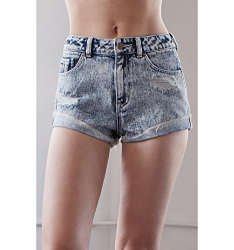 Kendall & Kylie Womens Fortune Blue Ripped High Rise Vintage Side Tack Denim Shorts