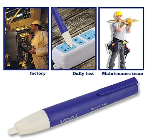 Blue and White Digital Non-Contact Voltage Detector 90~1000V AC Test Tester Meter Pocket Voltage Detector Pen