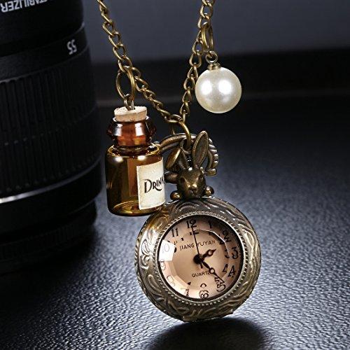 Rabbit Header - Beixi Circle Dial Bronze Pattern Retro Peter Rabbit Header Wishing Bottle Pearls Quartz Pocket Watch with Alloy Chain