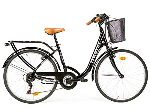 Moma Bikes City Classic 26″-  Bicicleta Paseo, Aluminio , Cambio Shimano TZ-50 18 vel., Negro