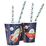 Ginger Ray Space Adventure Spaceship Robot Paper Kids Party Cups, Mixed