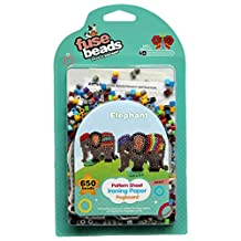 ART:EGO ™ - Fuse Beads Kit - Elephants Set - Includes 650 Mix Colors Beads, 1 Cartoon Pegboard, 1 Plastic Nipper, 1 Ironing Paper, 2 Patterns and 2 Ball Chains