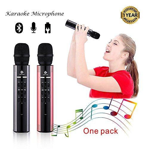 Karaoke Microphone Wireless Bluetooth speaker Portable mic for kids and adults Gift with ipone home professional karaoke machine,Magic sing voice,Rockn' Roll Parties,Solo Parties(Gray) -