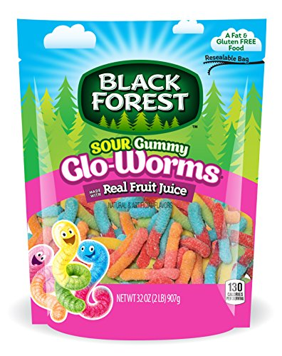 Black Forest Sour Gummy Glo Worms Gummy Candy, Strawberry/Orange/Lemon/Apple/Pineapple/Cherry, 2 Pound