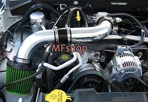 2pcs Design 2003 2004 2005 2006 2007 2008 2009 2010 Dodge Dakota 4.7L V8 Cold Air Intake Filter Kit System (Black Accessories with Green Filter) (Green Filter Cold Air Intake)