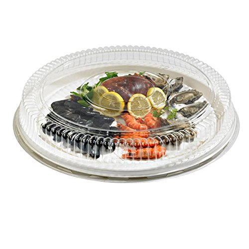 Sugarcane Round Platter (Case of 24), PacknWood - Disposable Paper Tray for Serving (18