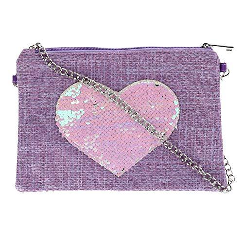 CTM Girl's Sequin Heart Crossbody Bag, Pink