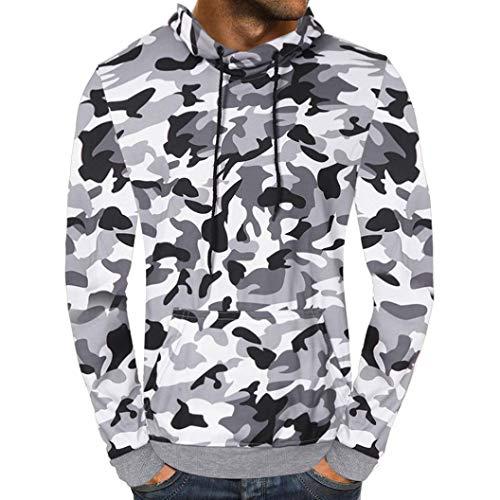 - kaifongfu Camouflage Hooded Men Sweatshirt Outwear Tops Blouse Zip top Autumn (White M)